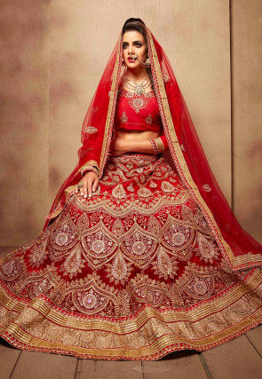 abf0f0bb992 Embroidered Net Lehenga in Red