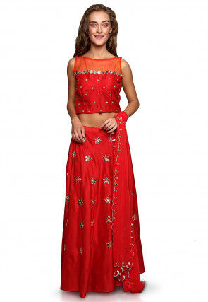 Embroidered Cotton Silk A Line Lehenga in Red