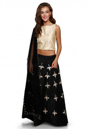 Embroidered Cotton Silk A Line Lehenga in Black