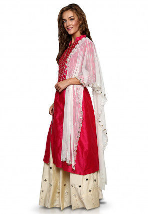 Embroidered Cotton Silk Jacket Style Lehenga in Fuchsia