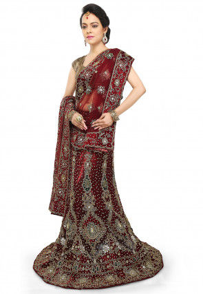 Hand Embroidered Net Lehenga in Maroon