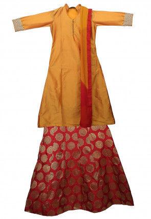 Art Silk Lehenga in Yellow and Red