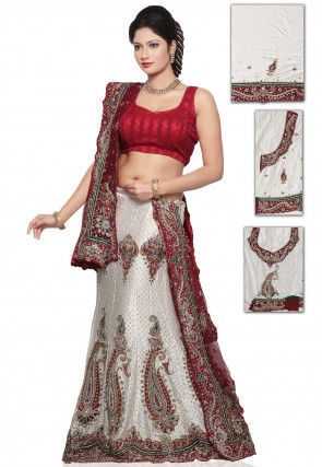 Hand Embroidered Satin Lehenga in Off White
