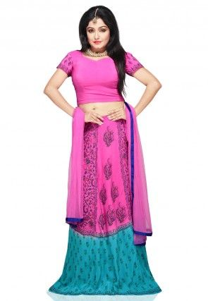 kalamkari Printed Crepe Lehenga in Pink and Turquoise