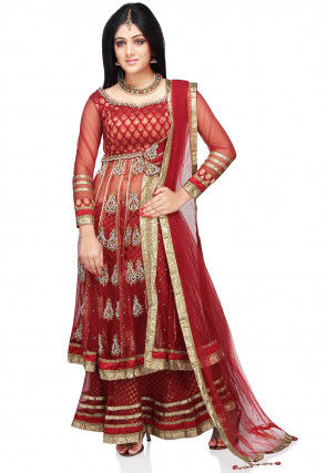 Embroidered Net Anarkali Style Lehenga in Red