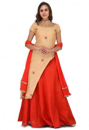 Embroidered Bhagalpuri Silk Lehenga in Beige