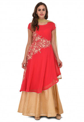 Embroidered Georgette Lehenga in Coral Pink