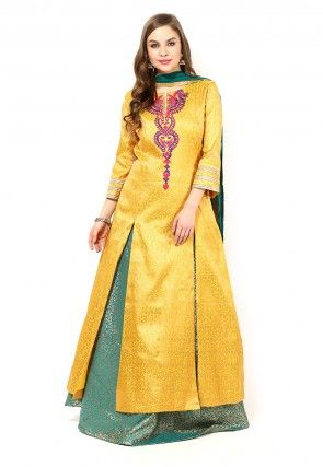 Brocade jacket Style Lehenga in Yellow
