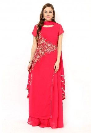 Embroidered  Georgette Lehenga in Coral