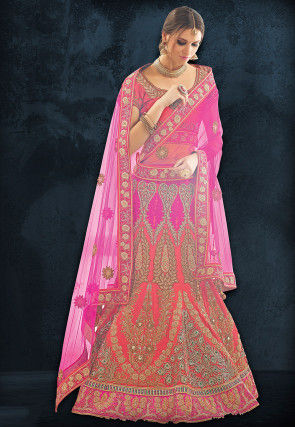 Embroidered Art Silk A Line Lehenga in Coral