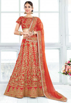 Embroidered Art Silk Lehenga in Rust