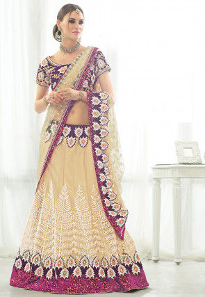 Embroidered Net Circular Lehenga in Light Beige