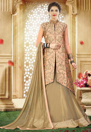 Embroidered Art Silk Shimmer Lehenga in Peach