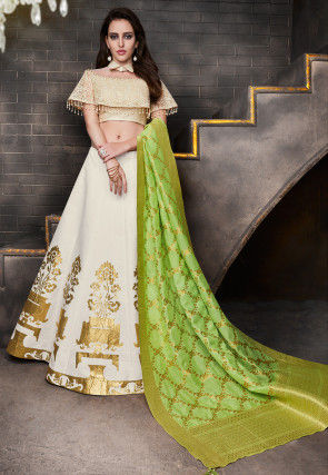Embroidered Art Silk Circular Lehenga in Off White