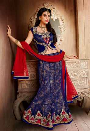 Embroidered Net Lehenga in  Blue and Red