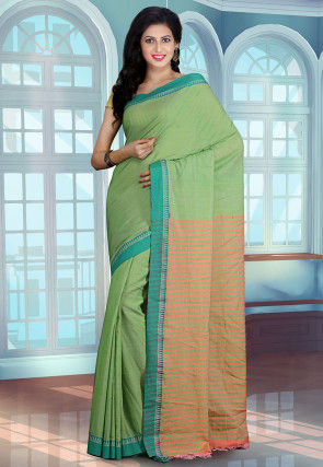 Maheshwari Cotton Handloom Saree in Green