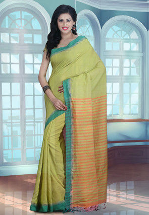 Maheshwari Cotton Handloom Saree in Pastel Green