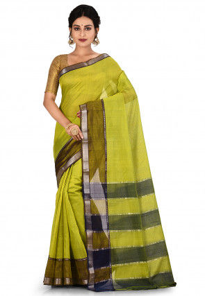 Mangalgiri Handloom Art Silk Saree in Light Olive Green