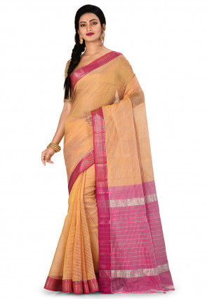 Mangalgiri Handloom Pure Silk Saree in Golden and Beige