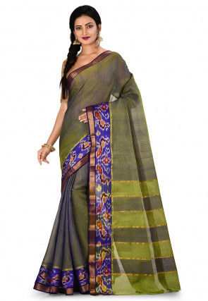 Mangalgiri Handloom Pure Silk Saree in Light Green and Blue