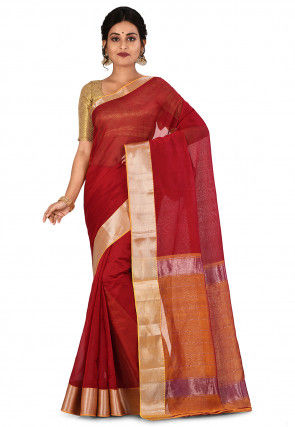 Mangalgiri Handloom Pure Silk Saree in Red