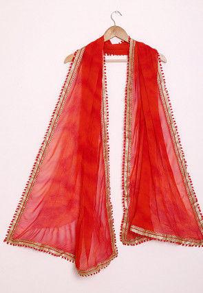 Marbel Dye Chiffon Dupatta in Red and Orange