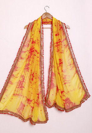 Marbel Dye Chiffon Dupatta in Yellow