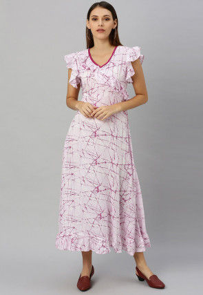 Marble Printed Rayon Maxi Dress in White and Magenta