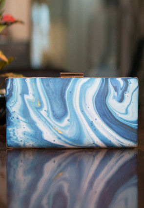 Marble Printed Satin Box Clutch Bag in Off White and Blue