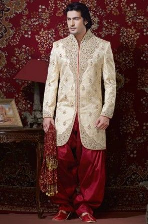 Embroidered Pure Silk Sherwani in Cream