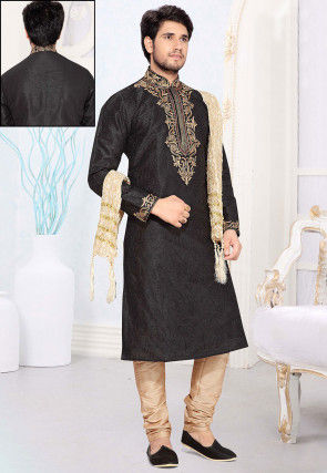 Embroidered Art Silk Kurta Churidar in Black