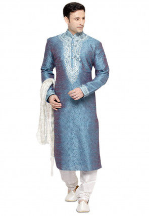 Embroidered Art Silk Kurta Churidar in Teal Blue