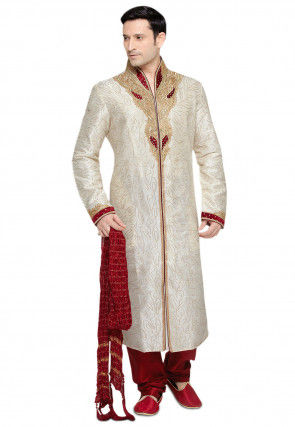 Embroidered Art Silk Sherwani with Churidar in Off White
