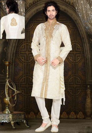 Embroidered Off White Art Dupion Silk Sherwani