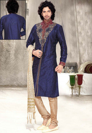 Embroidered Dark Blue Art Dupion Silk Sherwani