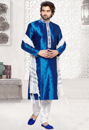 Brocade Art Silk Kurta Set in Royal Blue