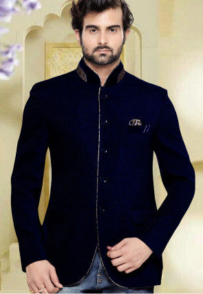 Jute Silk Jodhpuri Jacket in Dark Blue