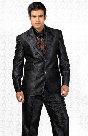 Satin Blazer Suit in Black