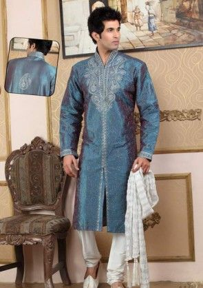 Embroidered Raw Silk Kurta Churidar in Blue