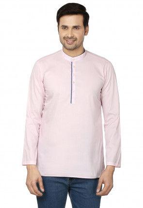 Plain Cotton Short Kurta in Pink