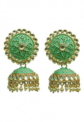 Meenakari Kundan Jhumka Style Earrings