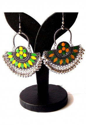 Meenakari Oxidised Chandbali Earrings