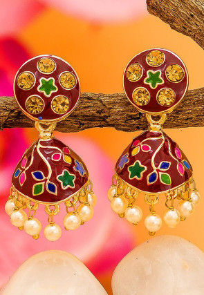 Meenakari Stone Studded Jhumka Style Earrings