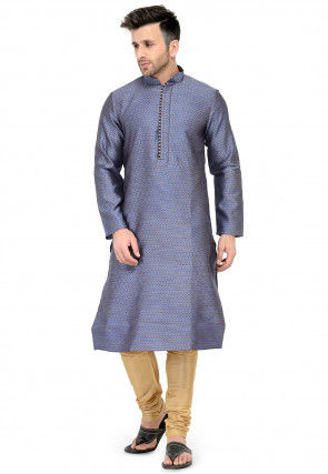 Woven Art Silk Jacqurd Kurta Set in Blue