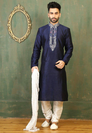 Embroidered Neckline Dupion Silk Kurta Set in Navy Blue