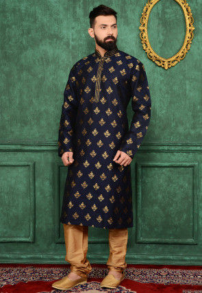 Woven Art Silk Jacquard Kurta Set in Navy Blue