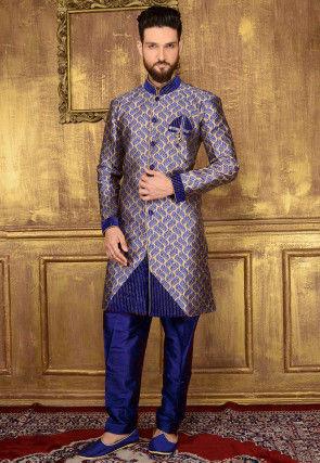 Woven Brocade Silk Sherwani in Blue