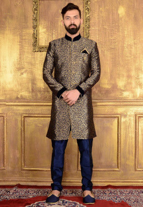 Woven Brocade Silk Sherwani in Navy Blue