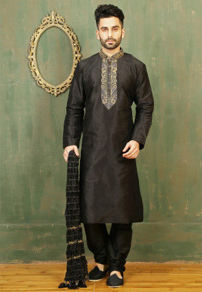 Embroidered Neckline Dupion Silk Kurta Set in Black