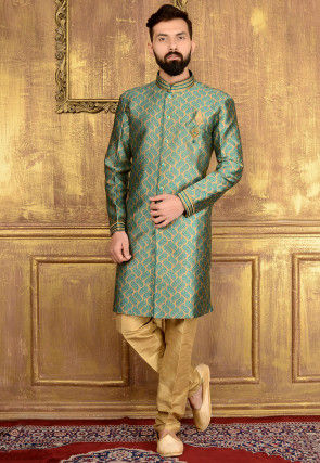 Woven Brocade Silk Sherwani in Beige and Teal Blue